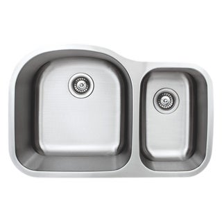 Wells Sinkwarel 32-inch Undermount 70/30 Double Bow 18-gauge Stainless Steel Kitchen Sink