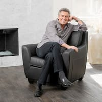 Monty Black Bonded Leather Club Chair by Christopher Knight Home