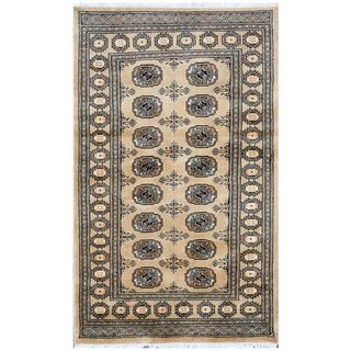 Herat Oriental Pakistani Hand-knotted Bokhara Tan/ Ivory Wool Rug (3'1 x 5'1)
