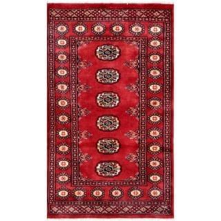 Herat Oriental Pakistani Hand-knotted Bokhara Red/ Ivory Wool Rug (2'6 x 4'1)