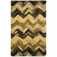Liora Manne Painterly Gold/ Black Indoor Rug (5' x 8') - 5' x 8'