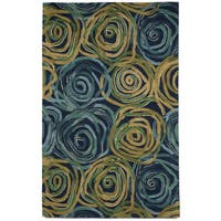 Faded Swirl Blue/ Beige Indoor Wool Rug (8' x 10')
