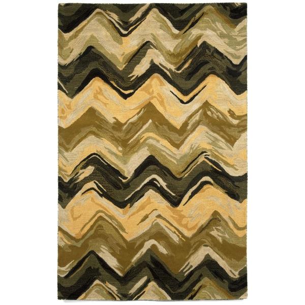 Liora Manne Painterly Charcoal/ Sage Indoor Rug (8' x 10')