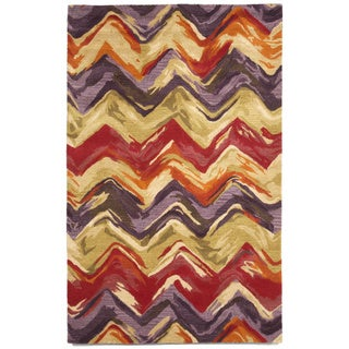 Liora Manne Painterly Crimson/ Lilac Indoor Wool Rug (8' x 10') - 8' x 10'