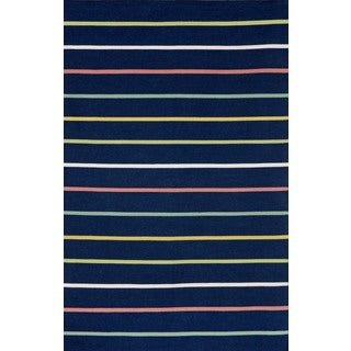Colored Stripe Navy Outdoor Rug (7'6 x 9'6)