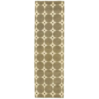 Boxes Tan/ Ivory Indoor Rug (2'3 x 8')