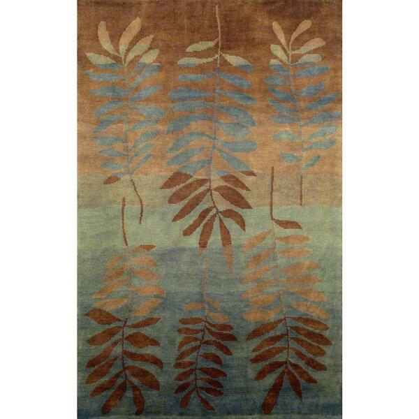 Leaf Aqua Indoor Rug (8' x 10') - 8' x 10'