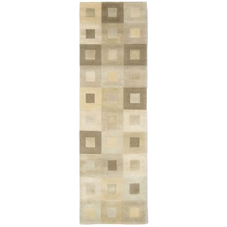 Square in Square Beige/ Ivory Indoor Rug (2'3 x 8') - 2'3 x 8'
