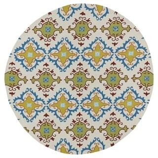 Fiesta Tiles Round Ivory Indoor/ Outdoor Rug (5'9) - 5'9