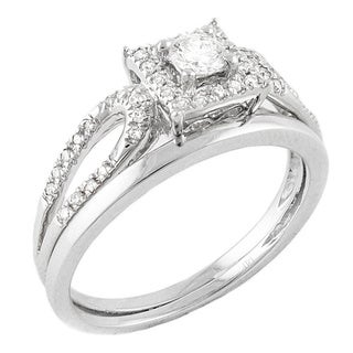 Beverly Hills Charm 14k White Gold 1/3ct TDW Halo Bridal Set