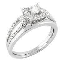 14k White Gold 1/3ct TDW Halo Bridal Set