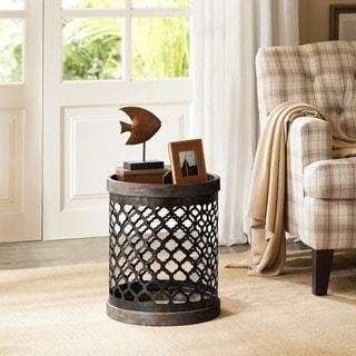 Carbon Loft Langer Reclaimed Grey Quatrefoil Metal Drum Table