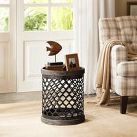 Carbon Loft Langer Reclaimed Quatrefoil Metal Drum Table