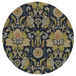 Fiesta Round Navy Flower Indoor/ Outdoor Rug (7'9)