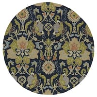 Fiesta Round Navy Flower Indoor/ Outdoor Rug - 7'9