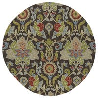 Fiesta Round Brown Flower Indoor/ Outdoor Rug (5'9)