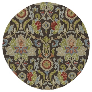Fiesta Round Brown Flower Indoor/ Outdoor Rug (7'9)