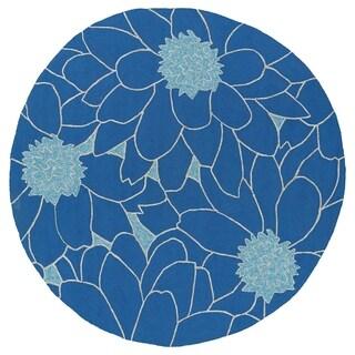 Fiesta Round Blue Flower Indoor/ Outdoor Rug (5'9) - 5'9
