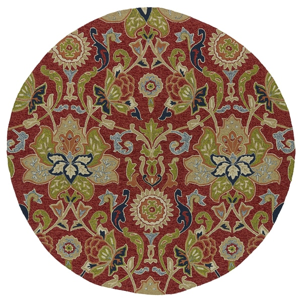 """Fiesta Round Red Flower Indoor/ Outdoor Rug (7'9) - 7'9"""" Round"""