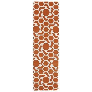 Hand-tufted Cosmopolitan Geo Orange/ Ivory Wool Rug (2'3 x 8')