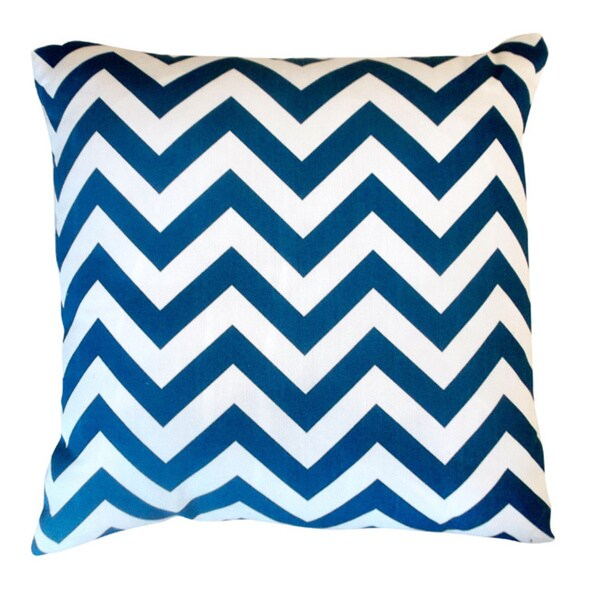 Square Contemporary Blue Chevron Indoor/ Outdoor Throw Pillow