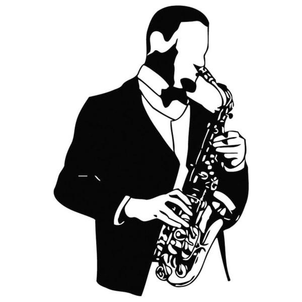 Shop Man and Saxophone Music Vinyl Wall Art - Ships To Canada ...