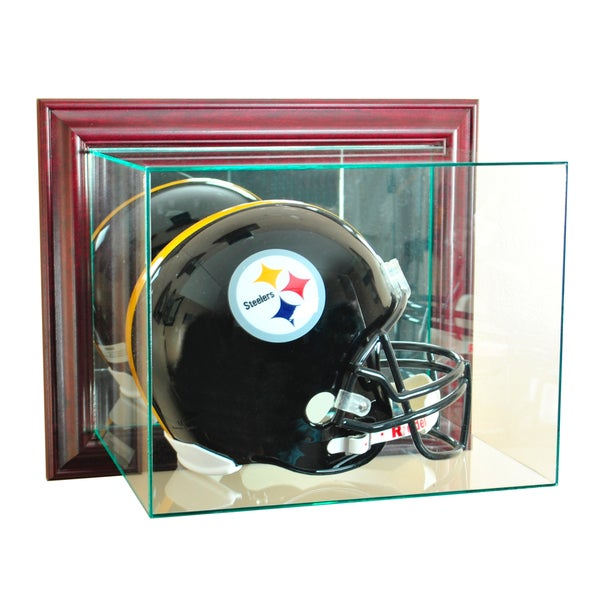 Cherry Finish Wall Mounted Football Helmet Display Case