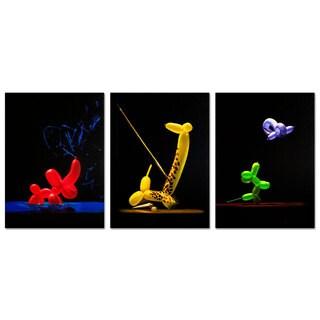 Roderick Stevens 'Balloon Animals' 3-piece Canvas Art Set
