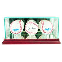 Cherry Finish Triple Baseball Display Case