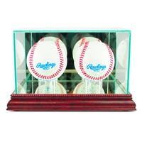 Cherry Finish Double Baseball Display Case