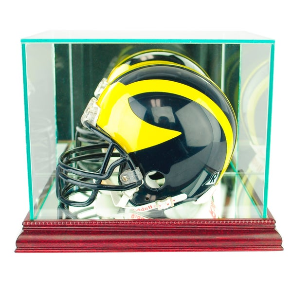 Cherry Finish Mini Football Helmet Display Case