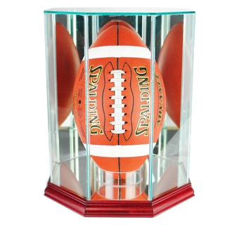 Cherry Finish Upright Octagon Football Display Case