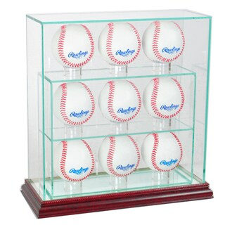 Cherry Finish 9 Upright Baseball Display Case