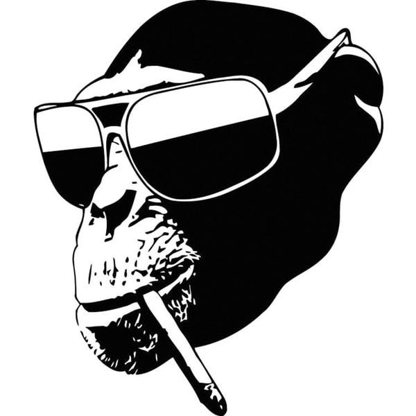 Shop Monkey Wearing Glasses Vinyl Wall Art Free Shipping