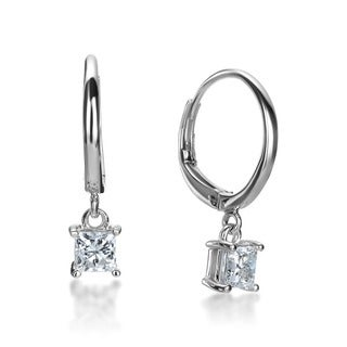 SummerRose 14k White Gold 1ct TDW Princess-cut Diamond Leverback Hoop Earrings (G-H, SI1-SI2)
