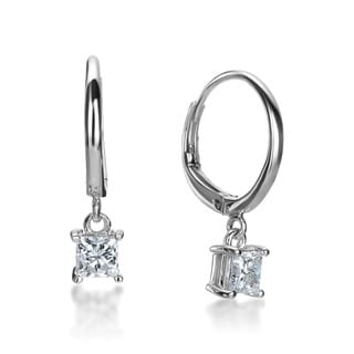 SummerRose 14k White Gold 1ct TDW Princess-cut Diamond Leverback Hoop Earrings