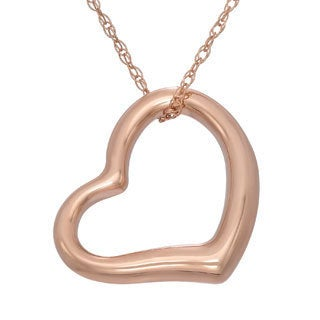 Gioelli 14k Rose Gold Open Heart Pendant Necklace