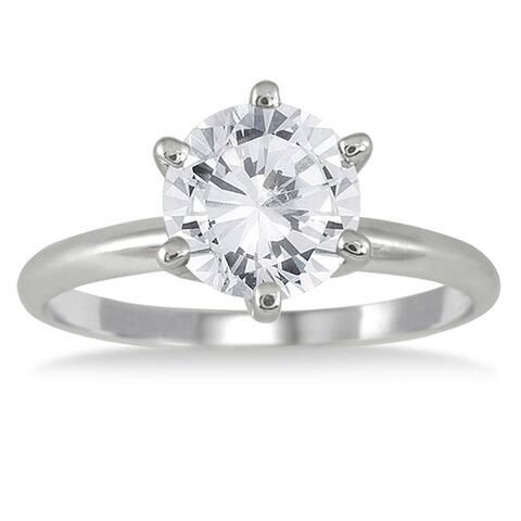 14k White Gold 1 1/2ct TDW Round Diamond Ring