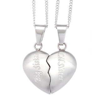 Stainless Steel 2-piece Sisters Heart Necklace