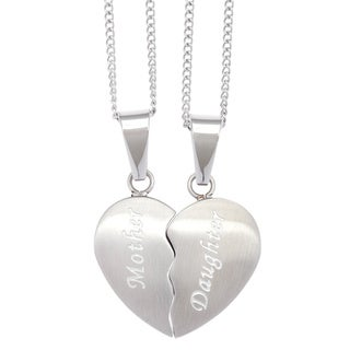 Stainless Steel 2-piece Mother/ Daughter Heart Necklace