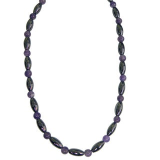 Magnetic Hematite Amethyst Cat's Eye Bead Necklace