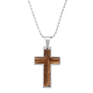 Stainless Steel and Brown Leather Cross Necklace