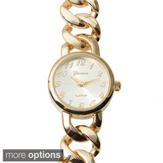 Geneva Platinum Women's Round Face Chain Link Wrap Watch
