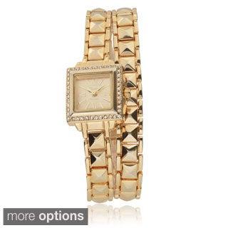 Geneva Platinum Women's Rhinestone-accented Link Wrap Watch