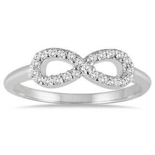 Marquee Jewels 10k White Gold 1/10ct TDW Diamond Infinity Ring