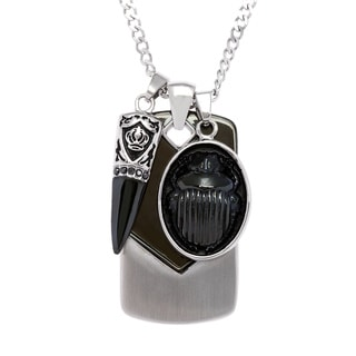 Stainless Steel Chevron Dog Tag with Charms