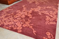 Hand-tufted Plum/ Apricot Wool/ Cotton Rug (8' Round) - Thumbnail 1