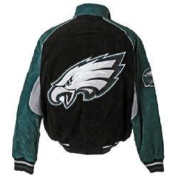 Nfl Philadelphia Eagles Full Zip Suede Varsity Jacket Xxl