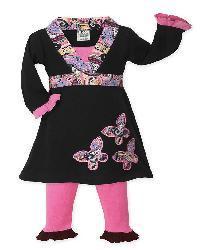 Sweet Jojo Designs Girls' Pink/ Black Butterfly Dress Set - Thumbnail 2