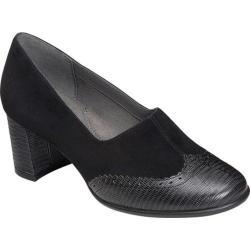 Women's Aerosoles Boxwood Chunky Heel Shoe Black Suede